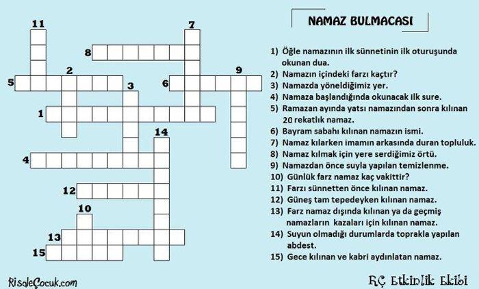 Namaz Vakitleri Ile Ilgili 10 Karelik çözülmüş Bulmacalar