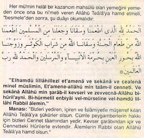 Sofra duası (kısa ama türkçe yemek duası)