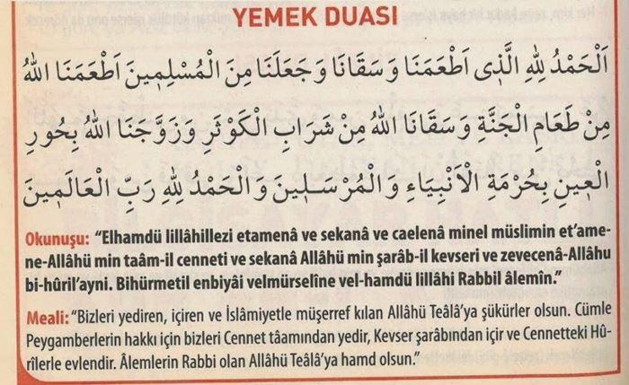 Arapça Yemek Duası ve Türkçe Anlamı