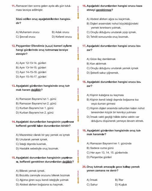 Oruç ile ilgili bilgimizi ölçelim! (Oruc hakkında test soru ve cevapları)